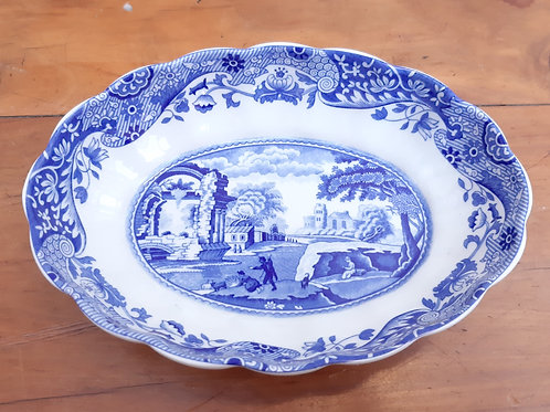 Spode Blue Italian Small Oval Fluted Dish