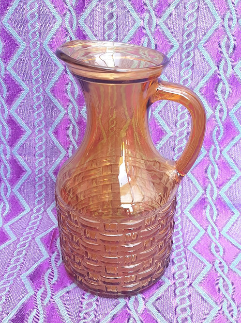 Retro Amber Glass Basket Weave Jug