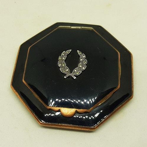 Art Deco Black Enamel Compact Silver Marcasite Laurel Wreath