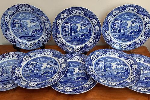 Spode Blue Italian x8 Dinner Plates