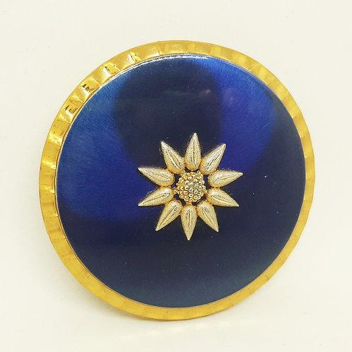 Kigu Vintage Compact Blue Enamel Gold Sunflower
