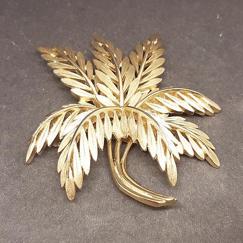 Large Trifari Goldtone Leaf Brooch