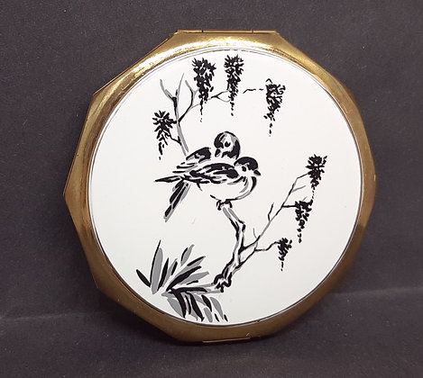 Stratton 10 Sided Black & White Birds Convertible Compact