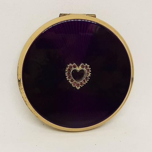 1960s Stratton Purple Enamel & Diamante Heart