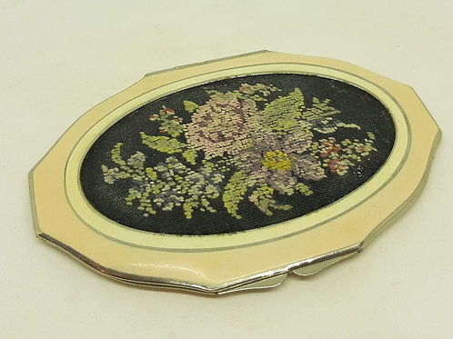 Vintage ROWENTA Enamel Petit point embroidery powder compact