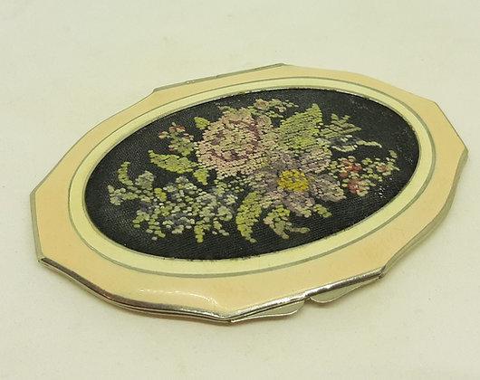 Vintage ROWENTA Enamel Petit point embroidery powder compact