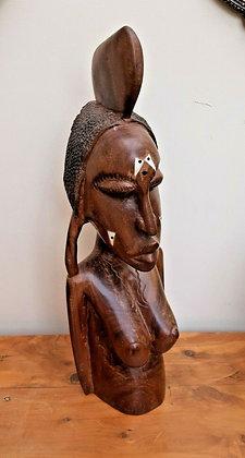 Large African Tribal Female Sculpture Bone Inlaid