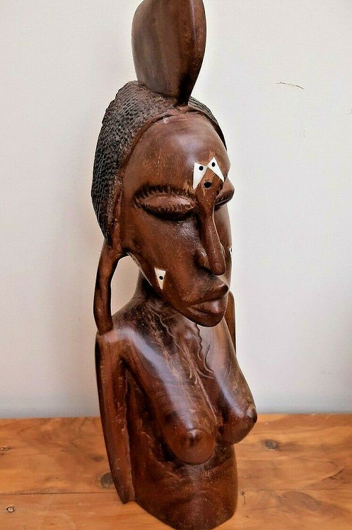Large African Tribal Female Sculpture Bone Inlaid