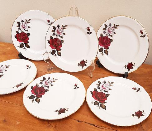 Colclough  6 Tea/Side Plates Amoretta Red/White Rose