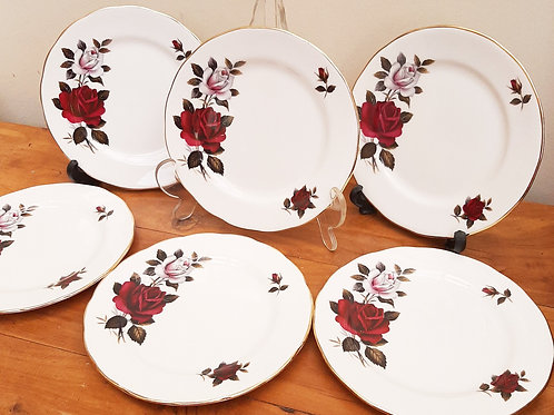 Colclough  6 Tea/Side Plates Amoretta Red/White Rose