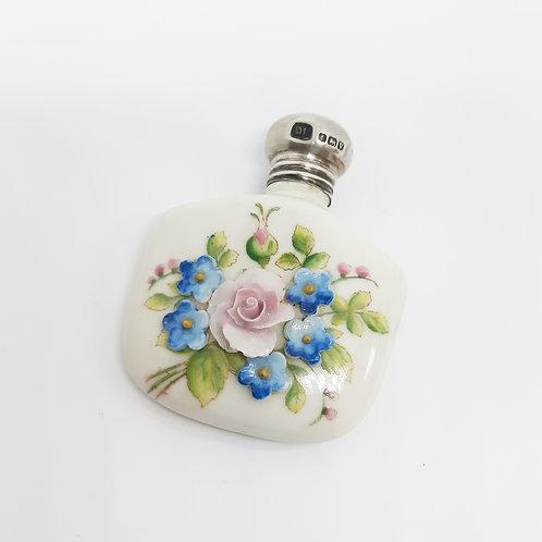 Pretty Floral Encrusted Porcelain Scent Bottle Silver Top D.L 1920
