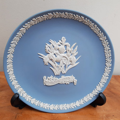 Wedgwood Blue Jasperware Mother 1990 Cabinet Plate