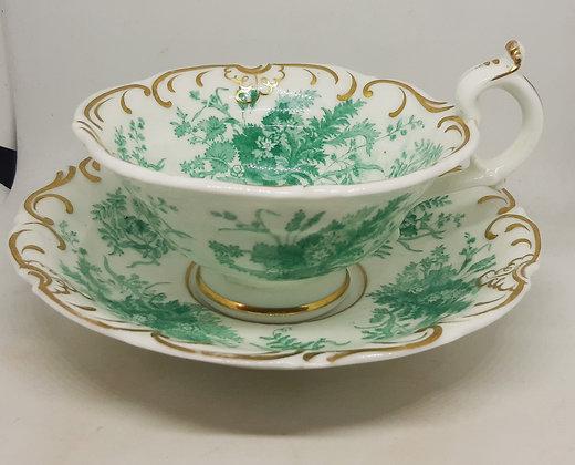 Davenport Cabinet Cup & Saucer 1055 Green Gilt c1815