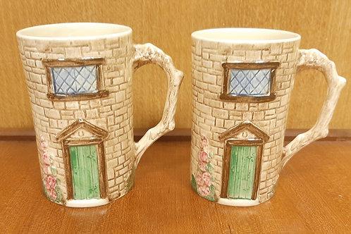 Pair of SylvaC Croft Cottage Mugs 4817