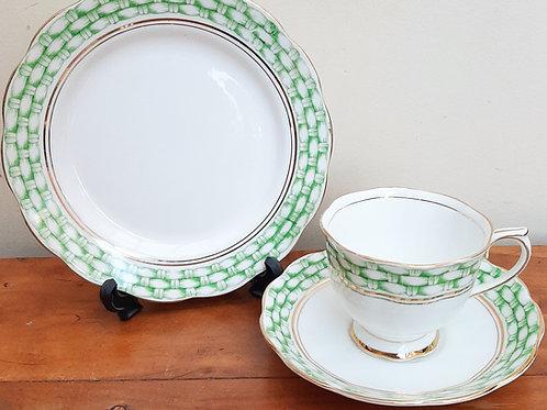 Royal Albert Crown China Tea Trio Green Basket Weave 1744
