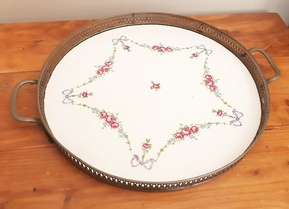 Pretty Ceramic Tea Tray Blue Bows Rose Floral Swags