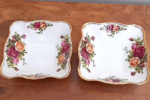 Royal Albert Old Country Roses Pair Dipping Bon Bon Dishes