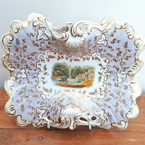 c1830 Rockingham Footed Dessert Dish Fall of Kilmorack