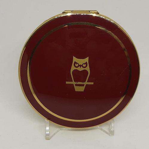 Stratton Convertible Compact Burgundy Enamel Gold Owl