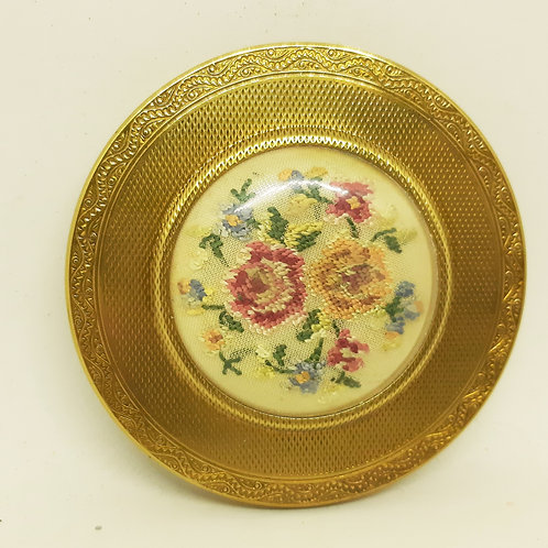 1940s MASCOT Petit Point Embroidered Powder Compact