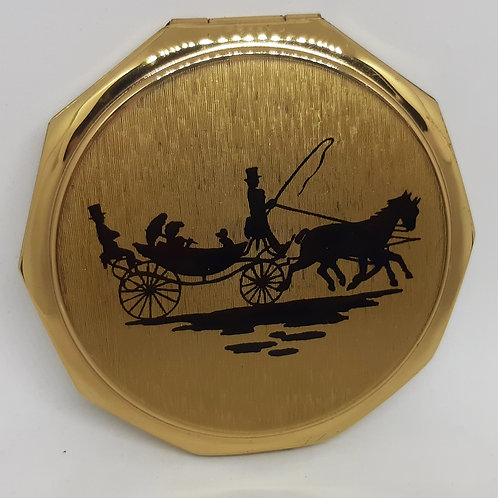 Unused  Stratton Compact Horse & Carriage Silhouette