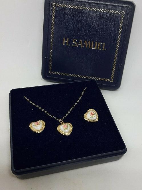 9ct Gold Porcelain Pink Rose Heart Necklace & Earring Set