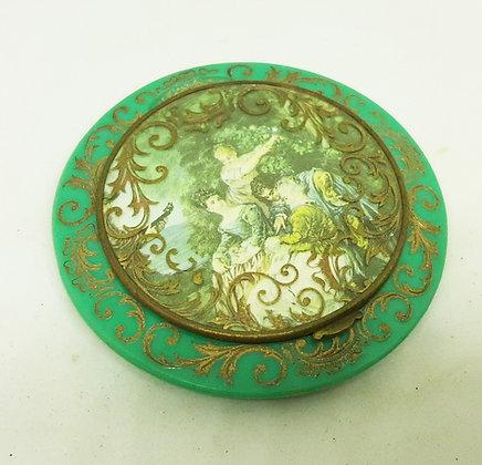 1920/30s French Powder Compact Green Celluloid Flourish Watteau