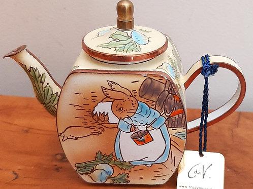 Charlotte Di Vita Miniature Enamel Teapot Beatrix Potter Rabbits