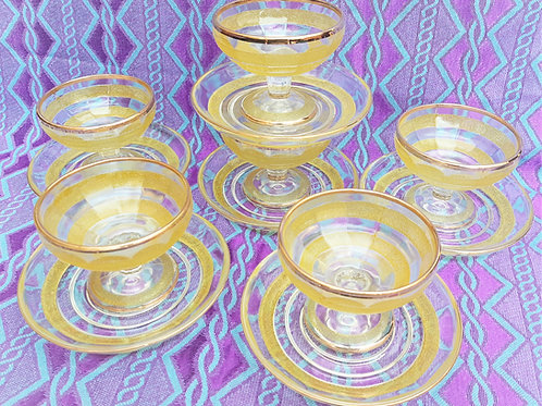 Retro Lime Sugar Frosted Sorbet/Cocktail Bowls & Saucers