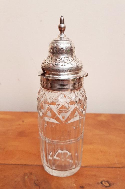 Victorian Cut Glass Silver Topped Mustard Jar 1897