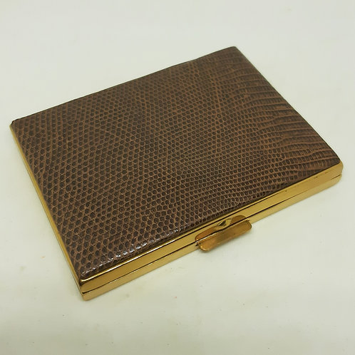 1950s French Patrys Faux Snakeskin Leather Compact