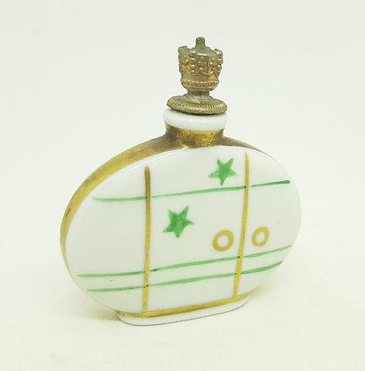Art Deco Porcelain Crown Top Scent Bottle Green & Gold