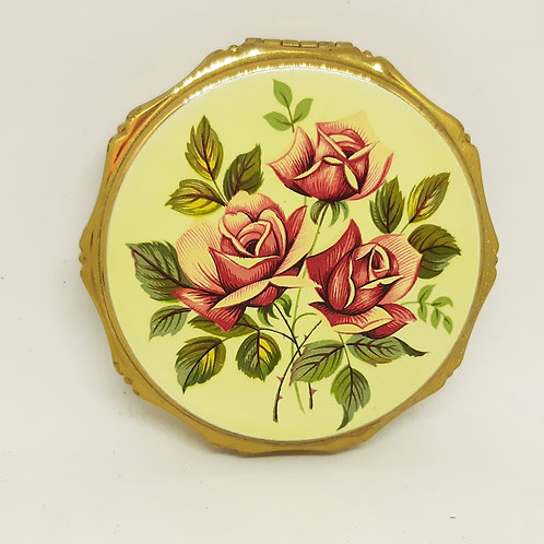 Vintage Kigu powder compact Trio of Red Roses
