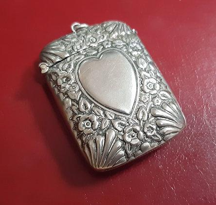 "Antique ""Alba"" Silver Vesta Case Heart & Flowers N.C.R Co"