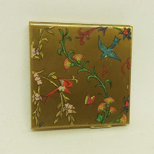 1940s ZENETTE Powder Compact Birds, Flowers & Butterfly