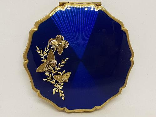 Stratton Queen Blue Enamel Hand Engraved Gold Butterflies