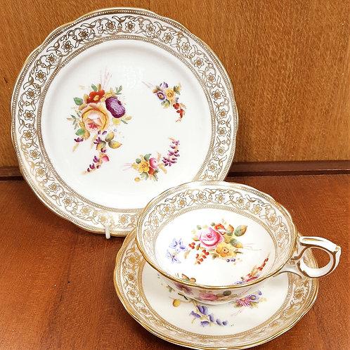 Antique Hammersley Painted Tea Trio 12763 Dresden Spray