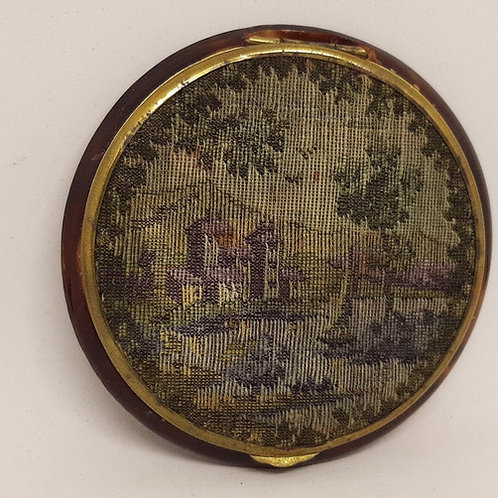Old French Needle Point Chateau Faux Torti Compact