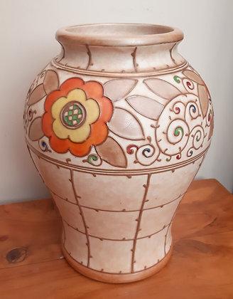 Bursley Ware Charlotte Rhead Vase T.L.3 Trellis