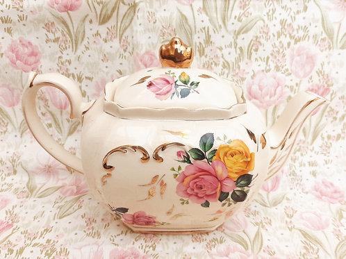 Sadler 1940S Cube Teapot Pink & Yellow Roses