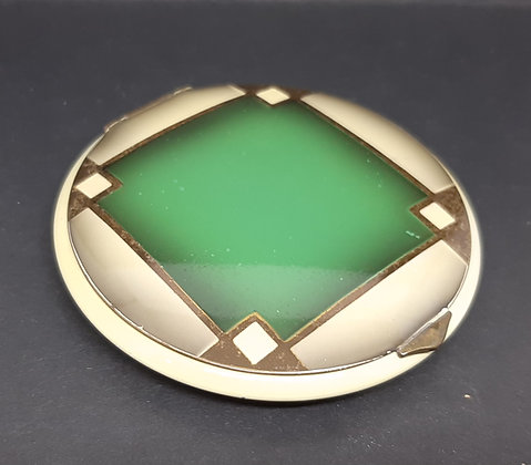 Art Deco Princess Powder Compact Taupe Green Enamel