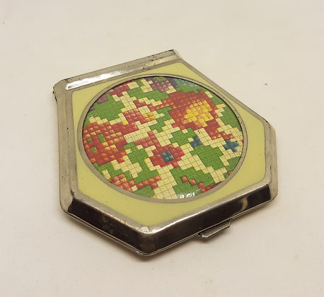 1930s Chrome Compact Enamel Mosaic flowers