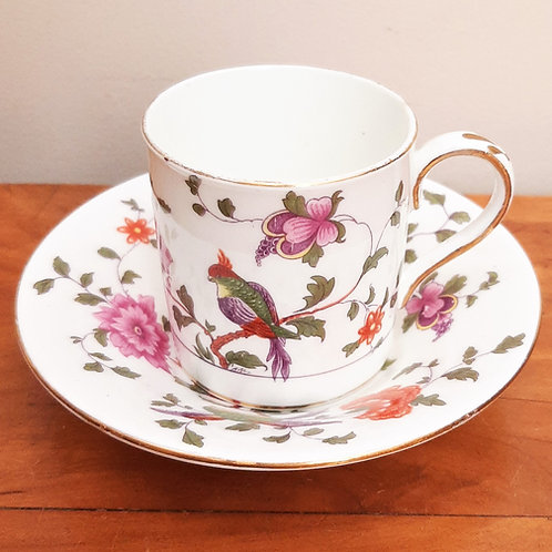 Antique Crown Staffordshire Paradise Bird Coffee Can & Saucer 1911