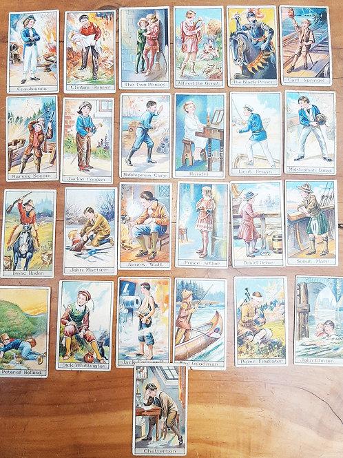 """Godfrey Phillips Cigarette Cards """"Famous Boys"""" Full Set"""