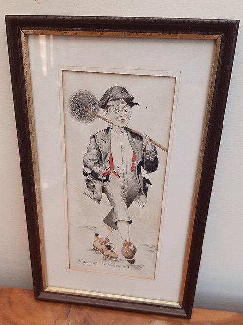 Maureen L Coley Original Watercolour Young Chimney Sweep