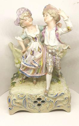 Antique Continental Bisque Porcelian Musical Vase