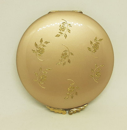 Lovely Dusky Pink/Gold Floral Sprigs Powder Compact Emrich?