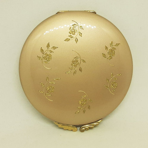Lovely Dusky Pink/Gold Floral Sprigs Powder Compact