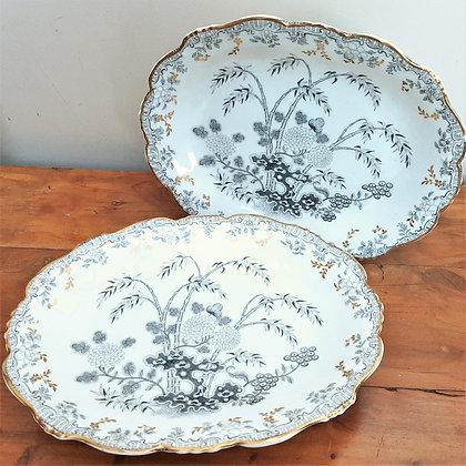 Pair of Minton Footed Dessert Stands MEISSEN Pattern c1840
