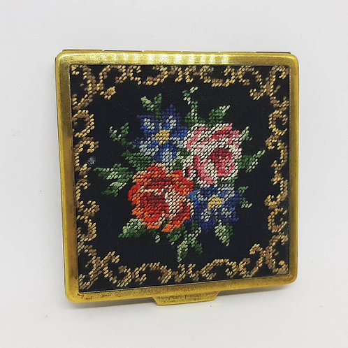 Austrian Needlepoint Powder Compact Rose C Scroll